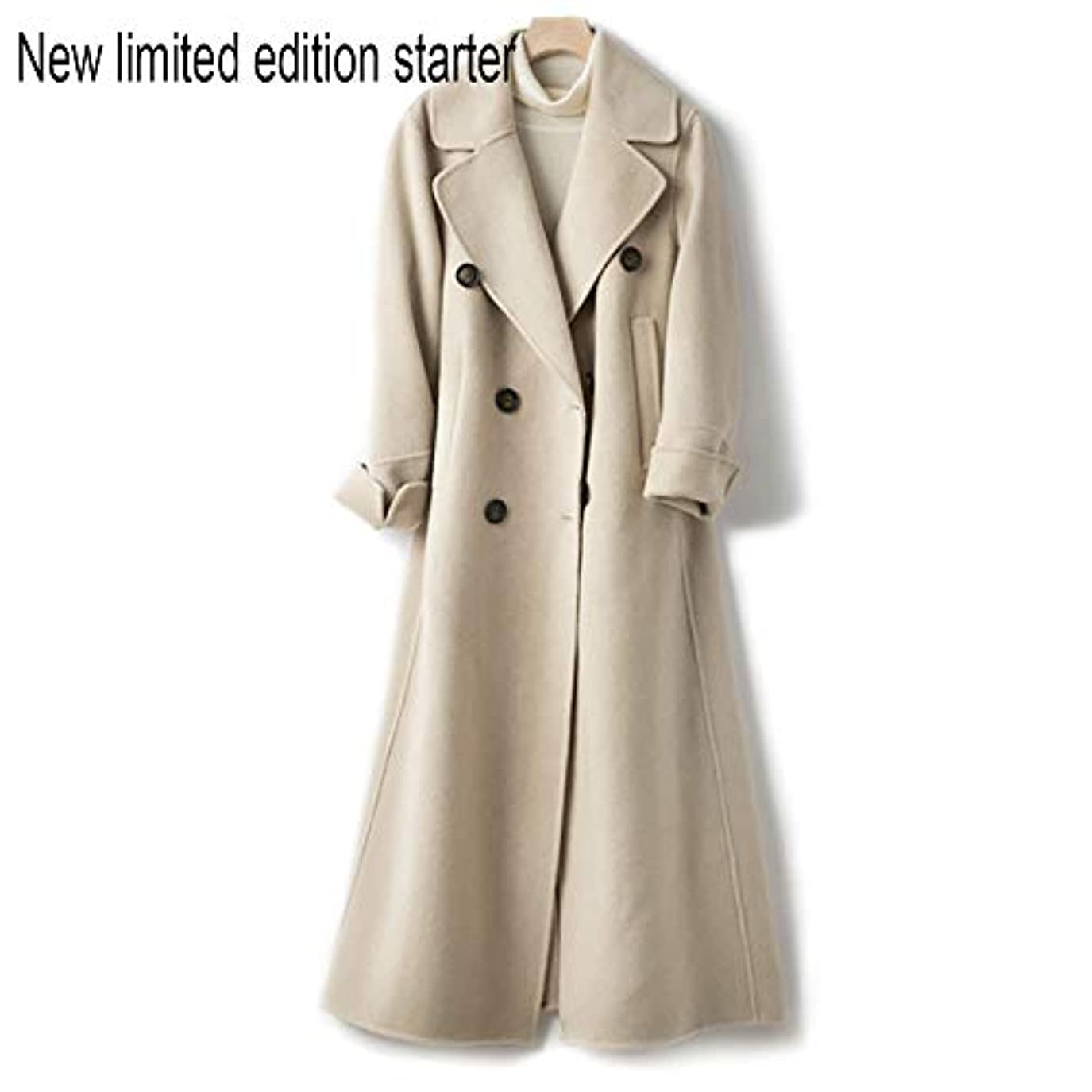 建てる市民権妊娠したウールコート、ウエストの両面ウールコートと長い女性服19秋と冬の新しいウールコート女性の長いブレザーコート,C,S