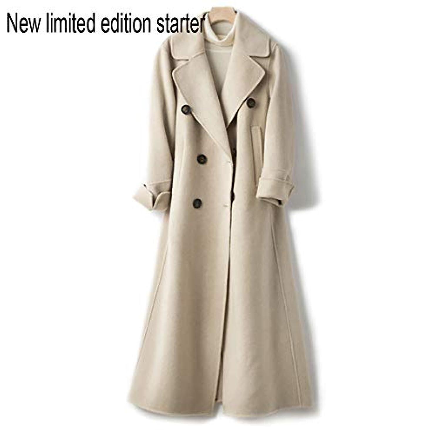 破裂子音ウールウールコート、ウエストの両面ウールコートと長い女性服19秋と冬の新しいウールコート女性の長いブレザーコート,C,S