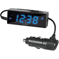 ナポレックス 車用 電波時計 Fizz ブラック LED発光表示 カレンダー付 角度調整 汎用 Fizz-870