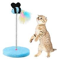 Brocan キャッチジャンプを再生ペットのためのミニキャットインタラクティブ玩具春の魚のおもちゃ(ブルー)