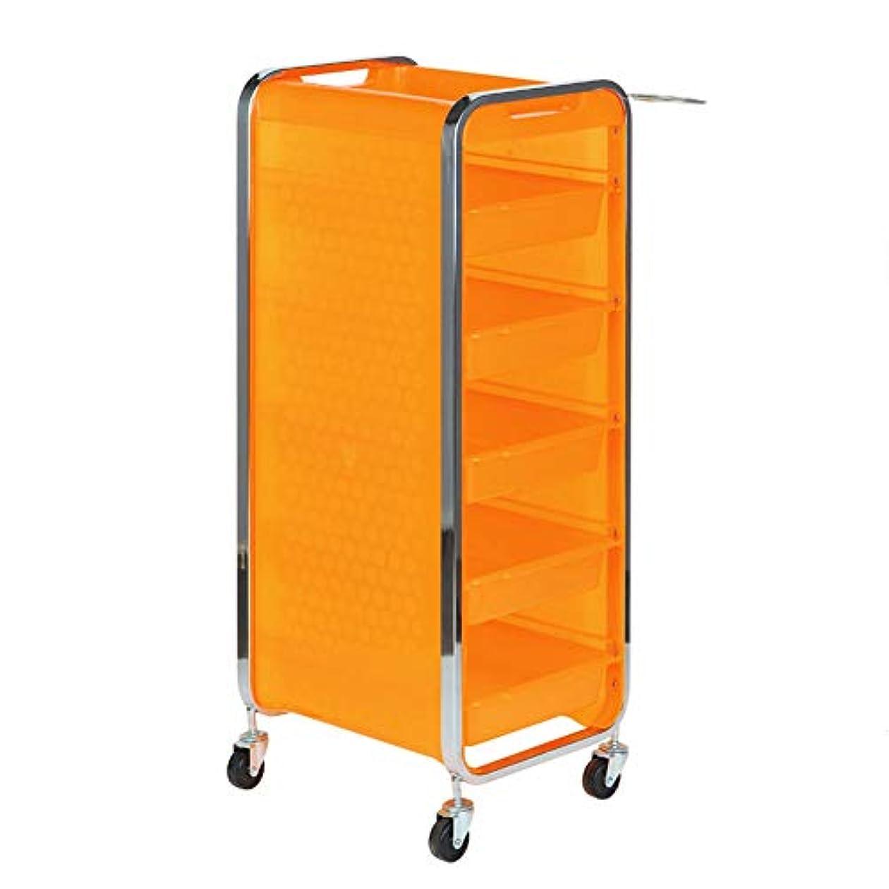 独立正しくクロニクルサロン美容院トロリー美容美容収納カート6層トレイ多機能引き出し虹色,Orange,A