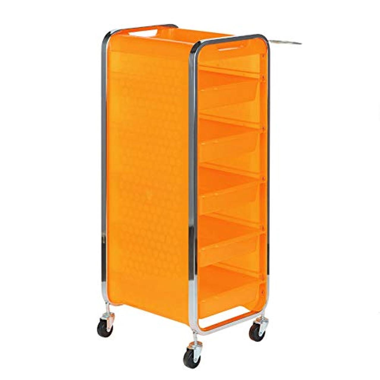 言語ガス無視するサロン美容院トロリー美容美容収納カート6層トレイ多機能引き出し虹色,Orange,A