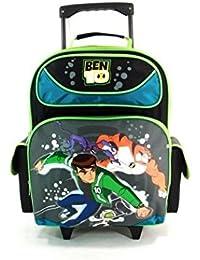 Large Rolling Backpack - Ben 10 Cartoon New School Book Bag Boys 615147