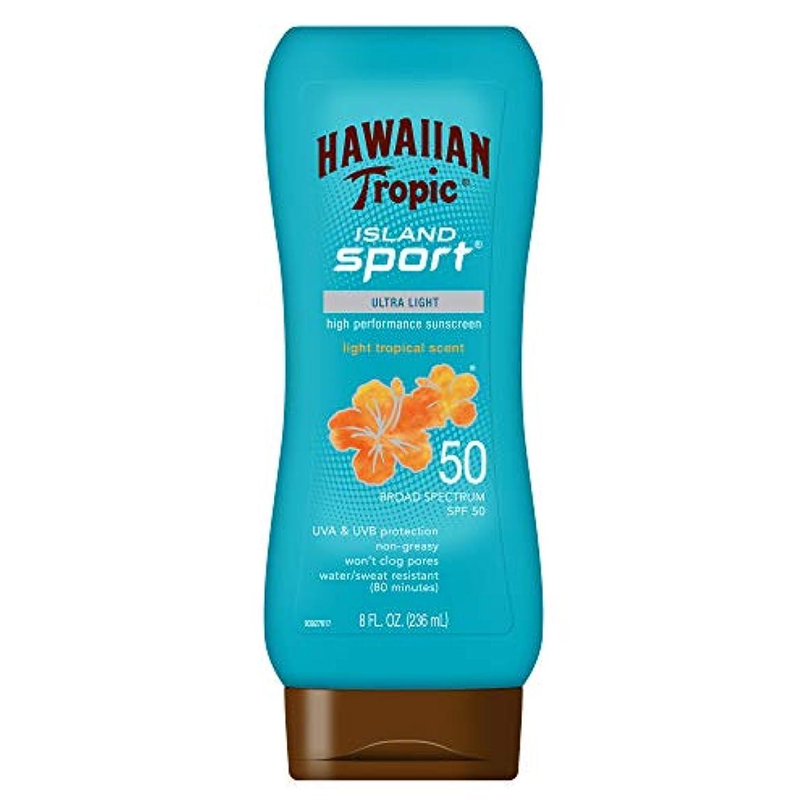 実質的にマニュアルくつろぎHawaiian Tropic アイランドスポーツ広域スペクトル日焼け止めローション、SPF 50-8液量オンス
