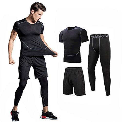 コンプレッションウェア 3点セット 半袖シャツ スポーツ トレーニング ブラック M