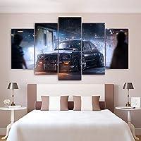 WLHBH 現代のキャンバス絵画家の装飾用リビングルームフレーム5ピースヴィンテージスポーツカークラシック写真ウォールアートhdプリント-30x40 30x60 30x80cm,枠なし