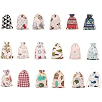 Healifty 18pcs Christmas Drawstring Gift Bags Santa Sack Backpack Linen Shopping Bags for Kids Girls Party Favors and Candy (Assorted Color)