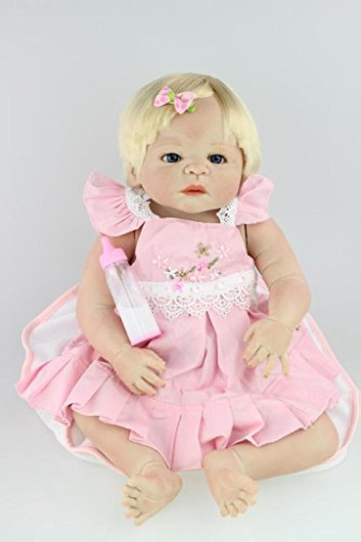 NPKDOLL リボーンベビードールハードシミュレーションシリコーンビニール22インチの55センチメートル磁気口リアルなアクリルの目でかわいい防水子供のおもちゃピンクのドレスゴールデンヘアー Reborn Baby Doll A1JP