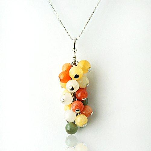 [해외]One &  Only Jewellery 미얀마 산 멀티 컬러 옥 옥 & 쿠 ォ 차이 펜던트 목걸이 5 월 탄생석/One &  Only Jewelery Myanmar multicolor jade jade and quartzite pendant necklace May birthstone