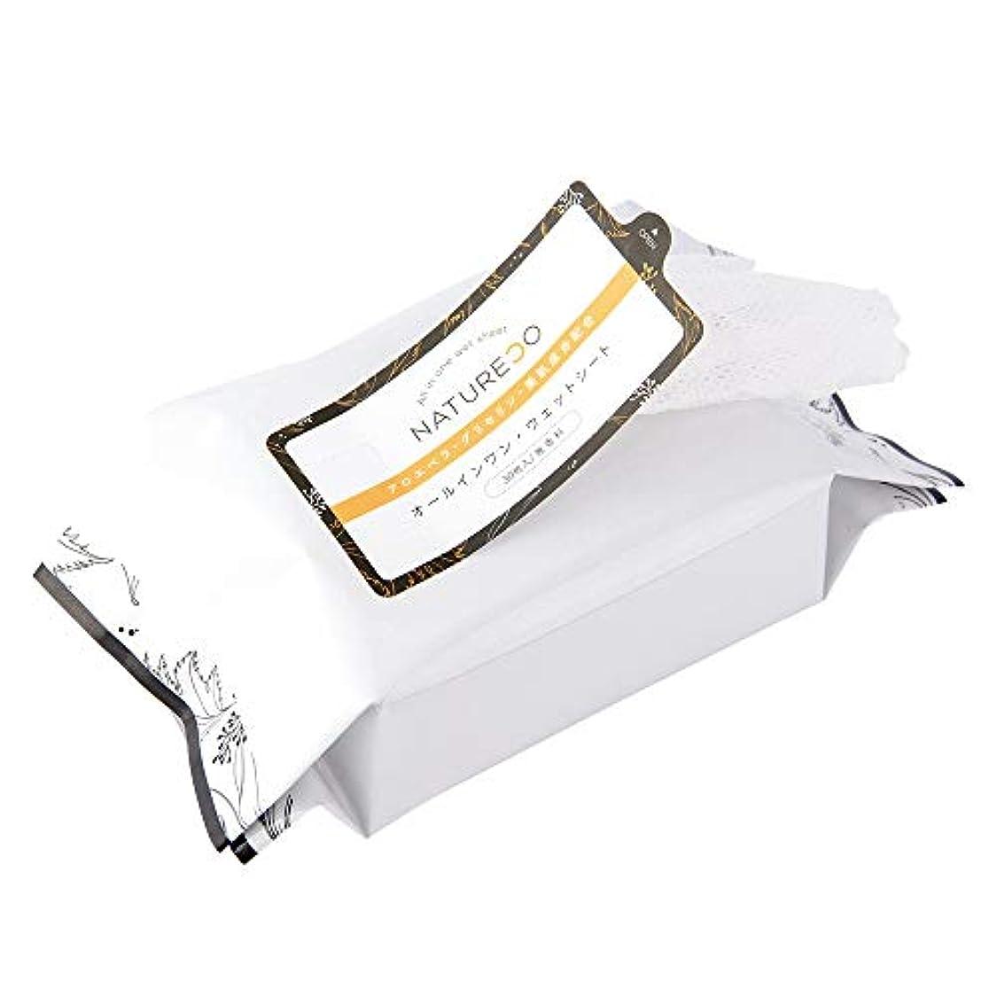マウスピースランチコインランドリーNATURECO オールインワン ウェットシート 30枚入り ナチュレコ ウェットティッシュ 保湿 美容成分 たっぷり配合 ボディケア