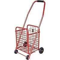 ライトトロリー食料品カート実用的なショッピングカート折りたたみ式階段用トロリー赤色26x24x76cm
