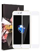 iPhone8 / iPhone7 用 強化ガラスフィルム CAESEA 全面保護フィルム 日本旭硝子 6Dラウンドエッジ加工 エッジの割れを防ぐ 飛散防止 気泡ゼロ 指紋ゼロ 自動吸着 貼り付け簡単 3D touch対応 (アイフォン8 /7用, 白)