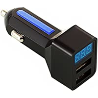 LED USB カーチャージャー 車載充電器 USB充電器 2ポートタイプ 3.1A 急速充電 スマホ タブレット シガーソケットチャージャーAndroid iPhone用 (ブラック-ブルー)
