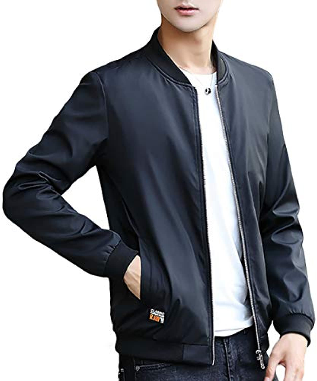 [meryueru(メリュエル)] ブラックリブ シングルジップ MA-1 ジャケット スマート シルエットブルゾン 羽織り メンズ