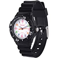 Wolfteeth Kids Watches Girls Boys Analog Quartz Watches 5ATM Waterproof 33mm Case 15mm PU Watchband Multicolor 3108