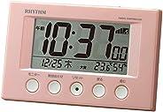 【Amazon.co.jp 限定】リズム時計工業(Rhythm) 目覚まし時計 電波時計 温度計・湿度計付き フィットウェーブスマート シェル・ピンク 7.7×12×5.4cm 8RZ166SR91