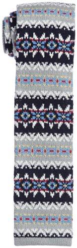 Wool Knit Tie 118-28-0061: Grey Fairisle