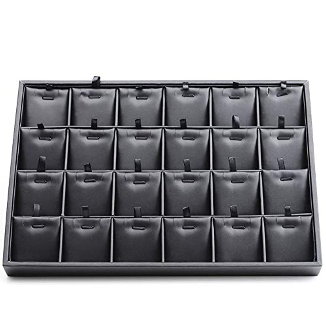 重さ欺くカプラー24区画 革製 収納ボックス レザー ジュエリートレイ アクセサリーケース 展示トレイ ピアス、イヤリング、指輪、ブレスレット、鍵、小物入れ ジュエリー、アクセサリー【SiSe9】