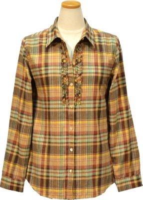 レディース ネルシャツ 5224408 ブラウン L シンプルライフ