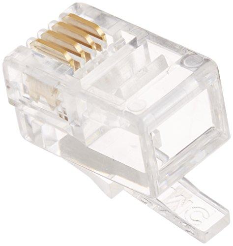 TARO'S RJ11/12モジュラープラグ コネクタ 受話器カールコード用 4極4芯(4P4C) 10個入 エコ簡易パッケージ CRJ11-10P44