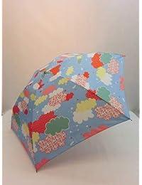 ノーブランド品 折畳傘 婦人 ポリエステル軽量丸ミニクラウド柄曲がり手付き折り畳み雨傘