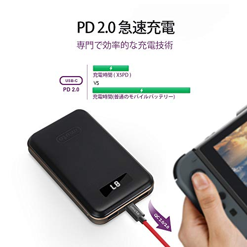 USB-C Power Delivery対応 モバイルバッテリー10000mAh QC 3.0/2.0 USB急速充電 残量表示 パソコン 充電 バッテリー 3台同時充電 iPhone XR XS Max X 8 Plus, Samsung S9 S8, Nintendo Switch,MacBook,ノートパソコン等対応 6枚目のサムネイル