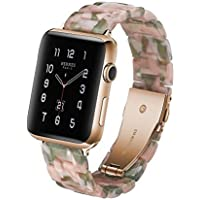 Resin Strap Compatible with Apple Watch Band 38mm 40mm 42mm 44mm Series 4/3/2/1 with Stainless Steel Buckle, iWatch Replacement Wristband Strap,B,40mm