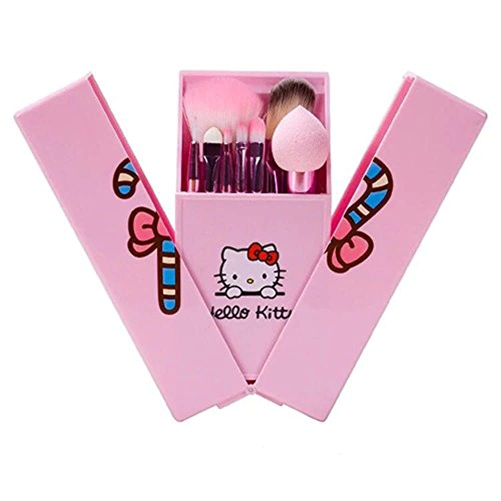 符号本を読む送ったハローキティ 可愛いキャラクターメイクブラシセット 人気8本セット 初心者向け完備セット 化粧ブラシ コスメ ブラシ 収納ケース付き 持ち運び 携帯便利 (ピンク)