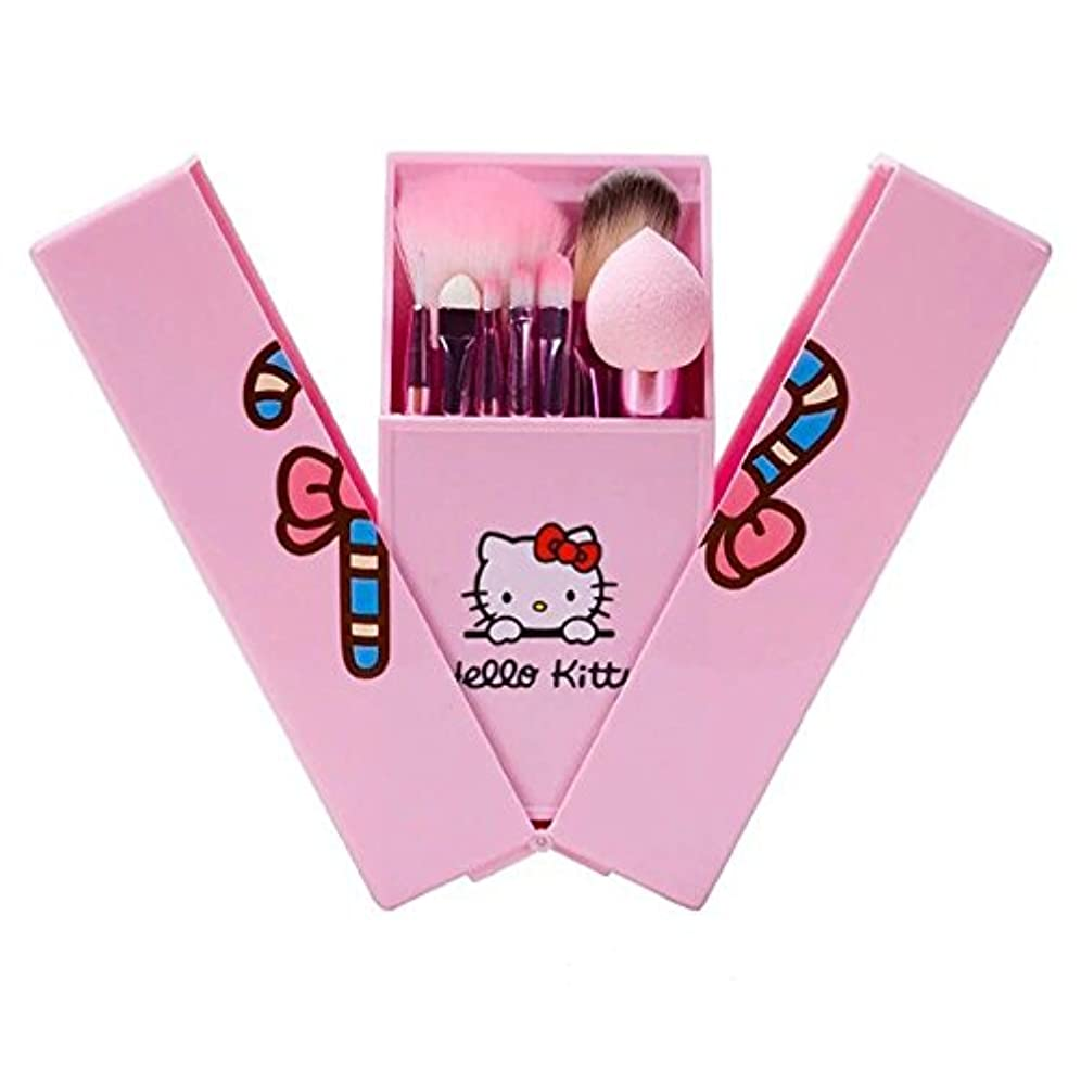 記念品推進力拷問ハローキティ 可愛いキャラクターメイクブラシセット 人気8本セット 初心者向け完備セット 化粧ブラシ コスメ ブラシ 収納ケース付き 持ち運び 携帯便利 (ピンク)
