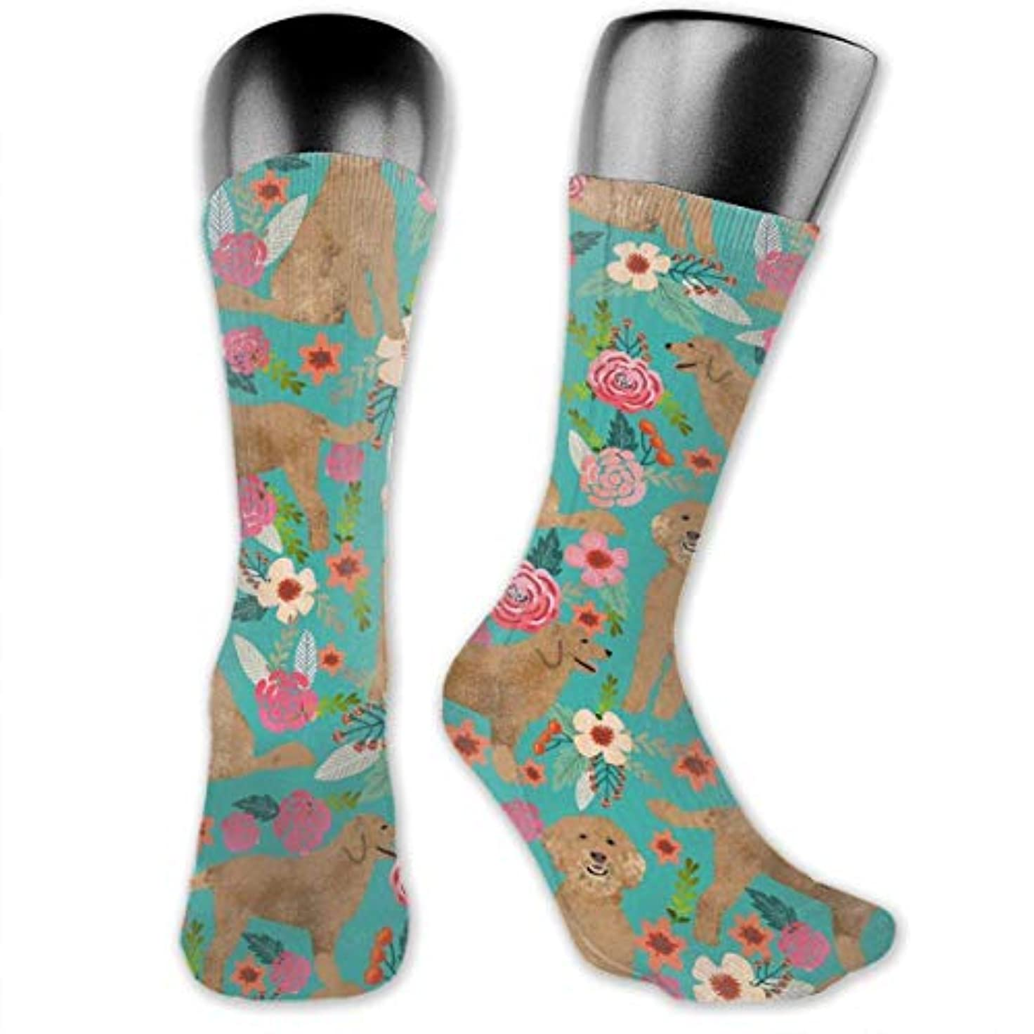 光景決めます最初MKLOS 通気性 圧縮ソックス Breathable Extra Long Cotton Mid Thigh High Rahman Cow Floral Exotic Psychedelic Print Compression...