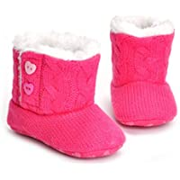 Serendmerry-AU Comfortable Keep Warm Winter Baby Boys Girls Toddler Shoes Soft Cotton Knitted Fashion Baby Prewalker Boots Shoes Rose red