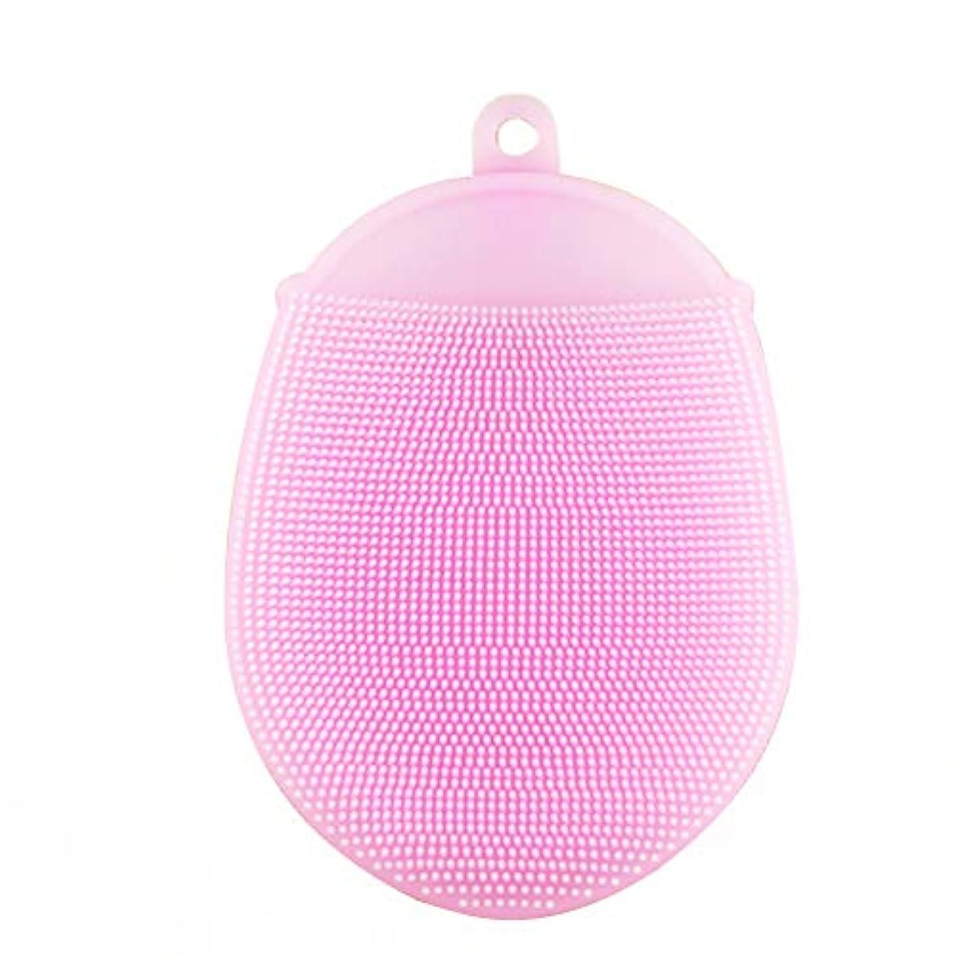 虐待狂った簡潔なHealifty シリコンボディ入浴ブラシフェイスクレンザーブラシパッドシャワースクラバー手袋2本(ピンク)