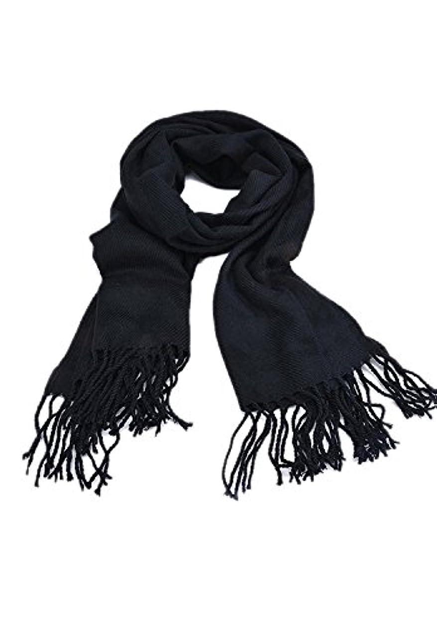 波紋流行注入Seliyi ファッション的で長くてソフトな格子縞のショール 羊毛混紡パシュミナ ショール スカーフ タッセル 黒