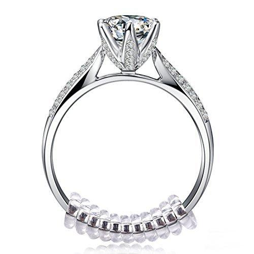 指輪 サイズ調整用 スプリング 10本 リング用 ばね ワイヤ指輪 ファッションリング 調整用パーツ サイズ直し シルバー&ゴールド用 研磨布 5枚付き (透明)
