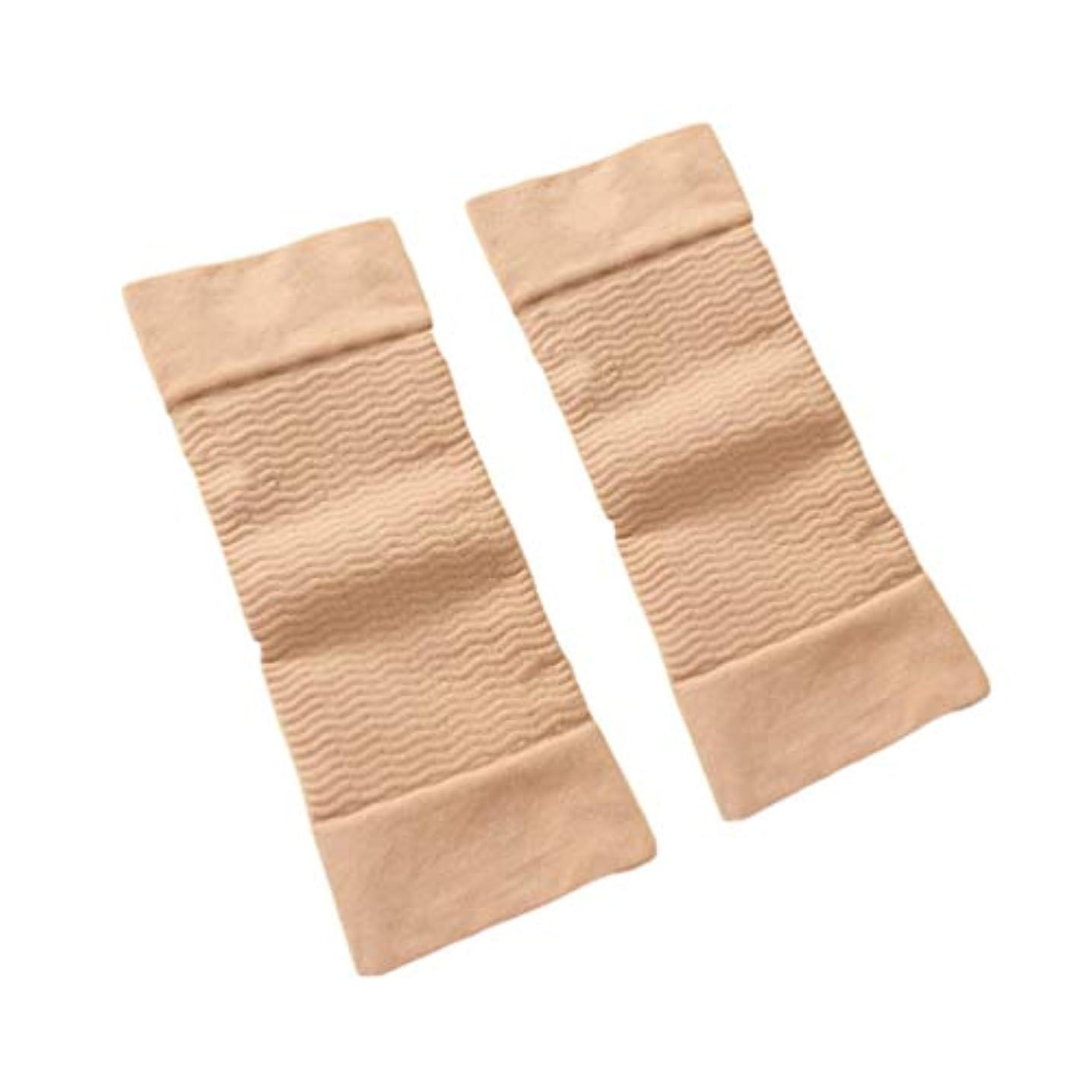 どこにでもうぬぼれたテキスト1ペア420 D圧縮痩身アームスリーブワークアウトトーニングバーンセルライトシェイパー脂肪燃焼袖用女性 - 肌色