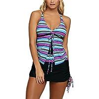 SIDEFEEL Women's Multi Striped Two Pieces Skirtini Swimsuit Tankini Set