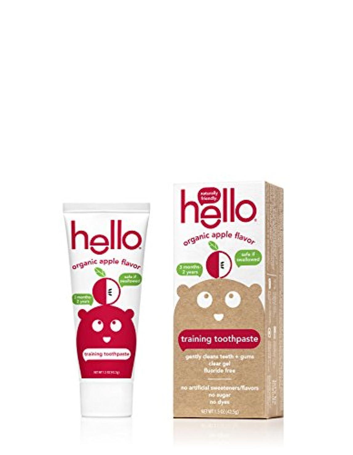 見る人クロスハロウィンHello Oral Care フッ化物無料幼児教育の歯磨き粉、オーガニックアップル、1.5オンス
