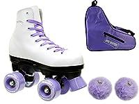 Girls EpicパープルプリンセスインドアアウトドアQuad Roller Skates 4pc。バンドル Juvenile 13 Epic_Princess_Purple_Bundle