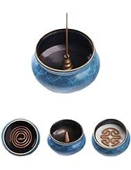 ホームアロマバーナー 純粋な銅香炉ホームアンティーク白檀用仏寒天香炉香り装飾アロマセラピー炉 アロマバーナー (Color : Blue copper)