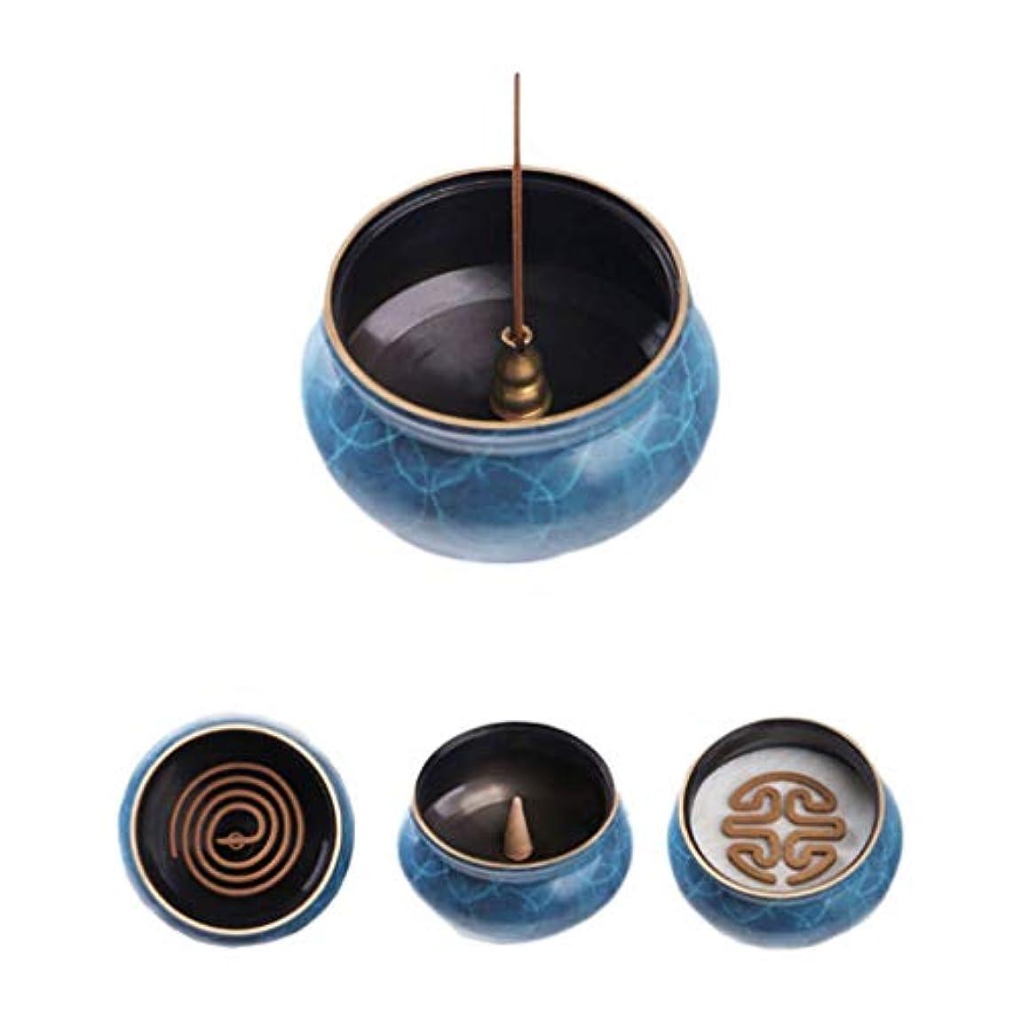 再生可能談話パイプホームアロマバーナー 純粋な銅香炉ホームアンティーク白檀用仏寒天香炉香り装飾アロマセラピー炉 アロマバーナー (Color : Blue copper)