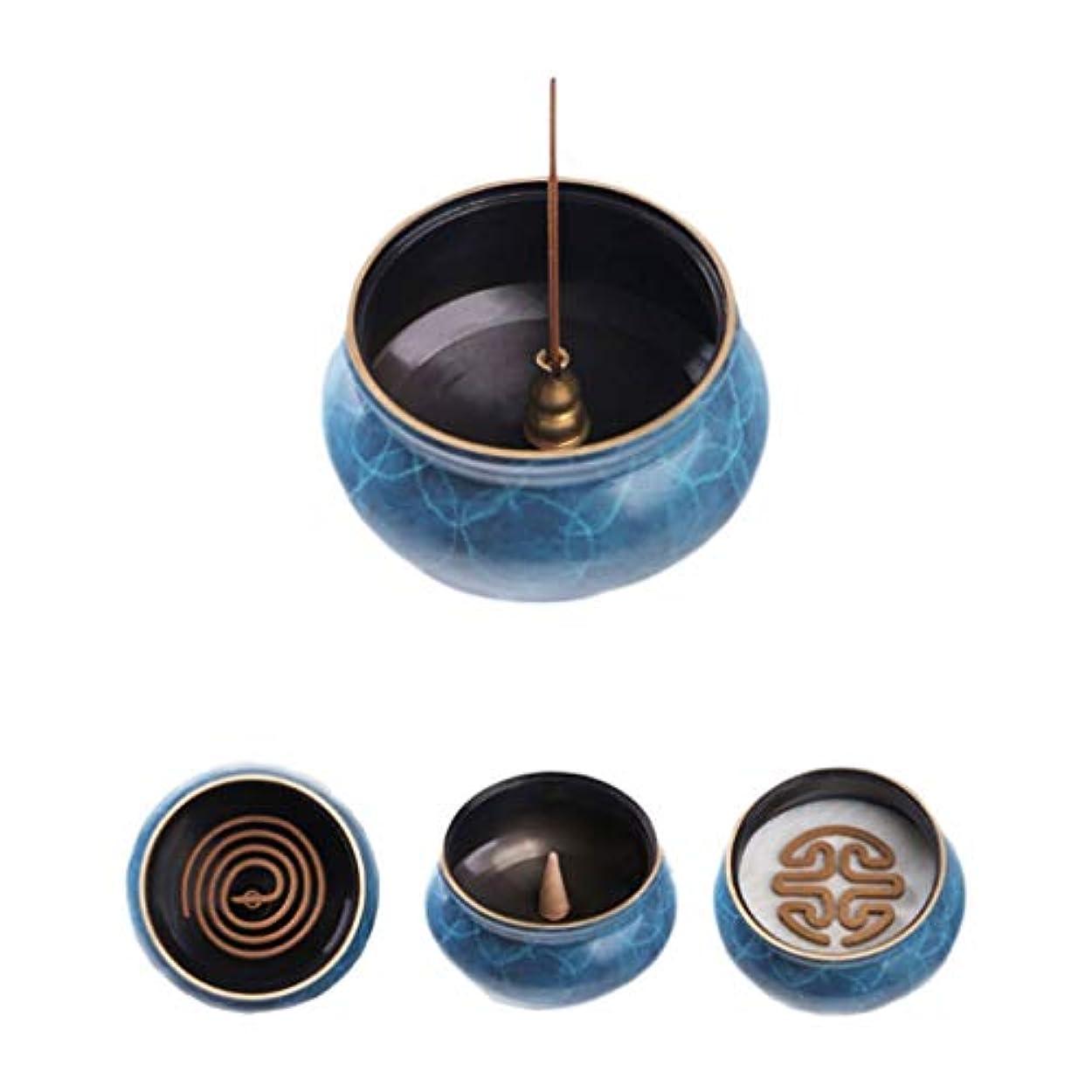 肥満インタビュー体ホームアロマバーナー 純粋な銅香炉ホームアンティーク白檀用仏寒天香炉香り装飾アロマセラピー炉 アロマバーナー (Color : Blue copper)