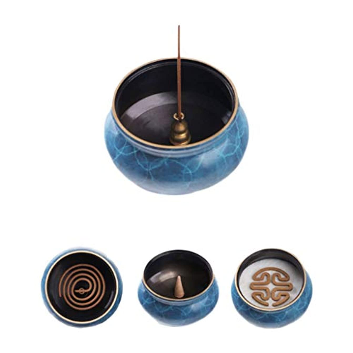 最大の法律意志ホームアロマバーナー 純粋な銅香炉ホームアンティーク白檀用仏寒天香炉香り装飾アロマセラピー炉 アロマバーナー (Color : Blue copper)