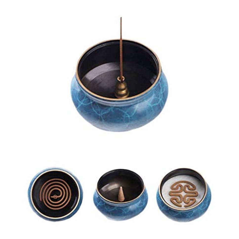 いう留まる製造業ホームアロマバーナー 純粋な銅香炉ホームアンティーク白檀用仏寒天香炉香り装飾アロマセラピー炉 アロマバーナー (Color : Blue copper)