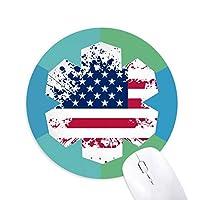 星とストライプアメリカ 国の旗 円形滑りゴムの雪マウスパッド