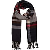 SOJOS Plaid Tartan Cashmere Scarves with Tassels for Men and Women SC3010
