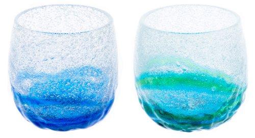 泡でこたるグラス2個セット(青/水・水/緑)