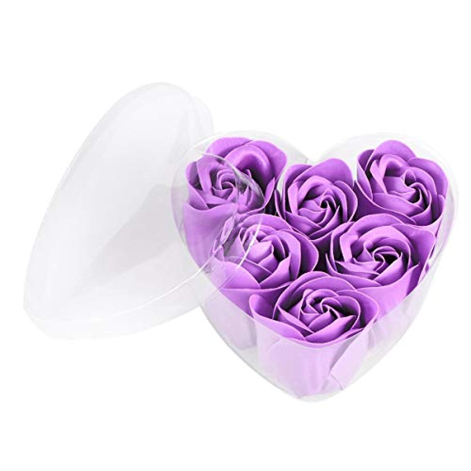 自発ハントコショウFRCOLOR 6ピースシミュレーションローズソープハート型フラワーソープギフトボックス用誕生日Valentin's Day(紫)
