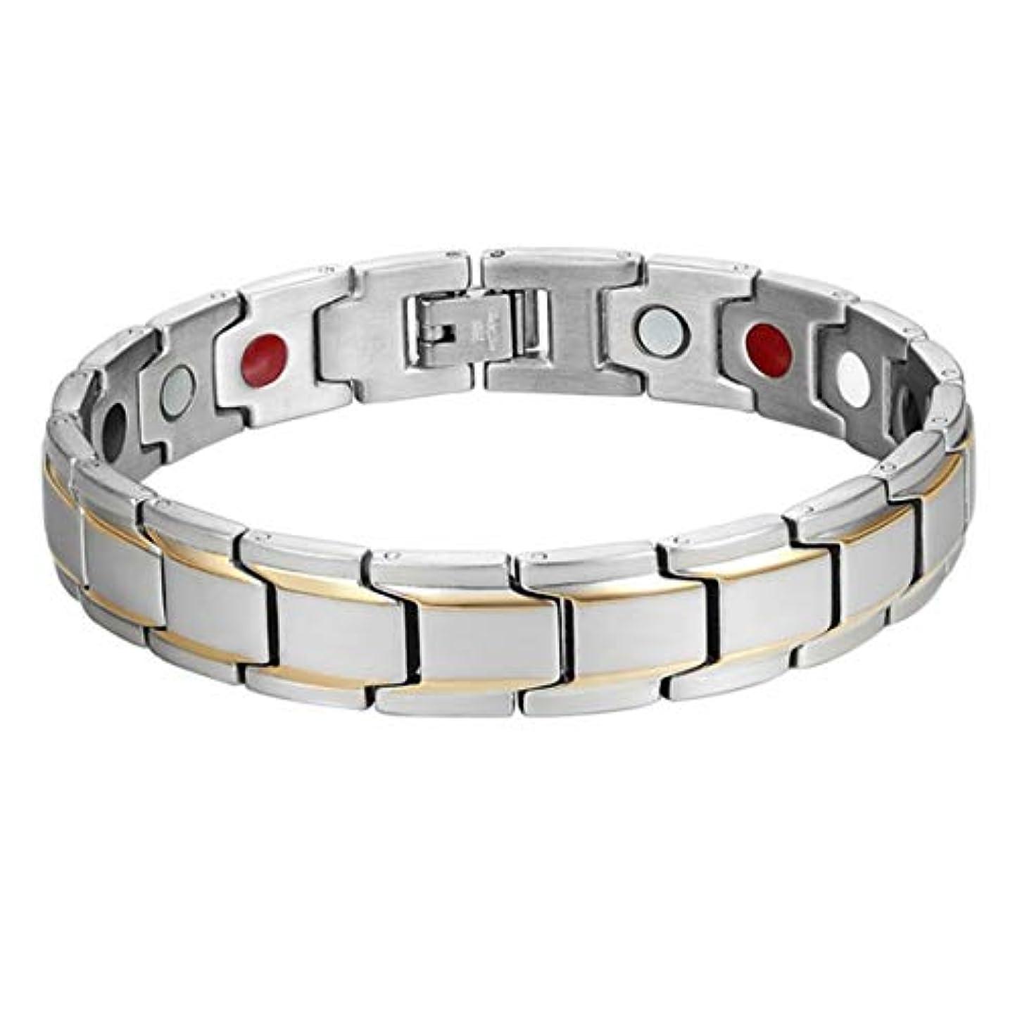 アヒル羊のヒューマニスティック男性女性ファッションチタン磁気療法ブレスレットツートン調節可能ブレスレット磁気療法ブレスレットヘルスケアギフト-ゴールド