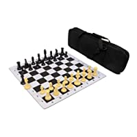 Premier Tournament Chess Set Combo with Natural Pieces - Black