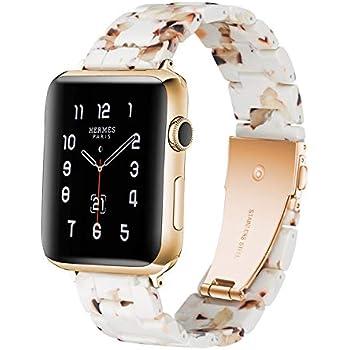 Sundaree® Compatible with Apple Watch バンド 38&40mm、ファッションな樹脂製ブレスレット 時計バンドfor iWatchバンド 、スポーツ&エディション バンド メタルステンレススチールバックル for アップルウォッチ シリーズ5/4/3/2/1(ピーナッツミルク色38mm)